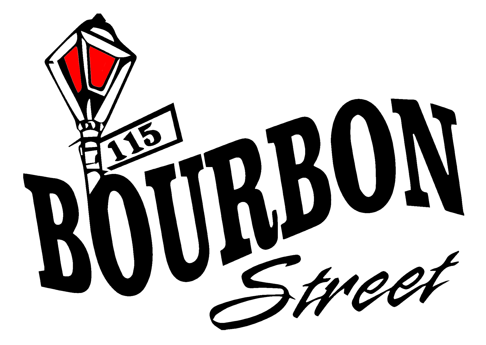 115 Bourbon Street logo with red light