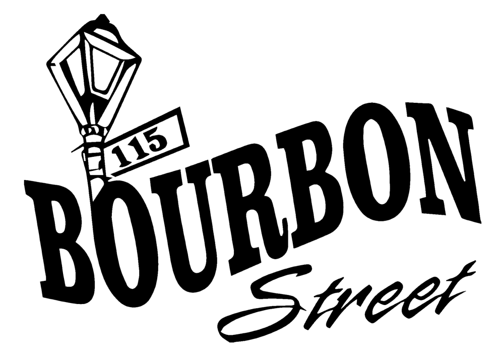 115 Bourbon Street black logo with outline