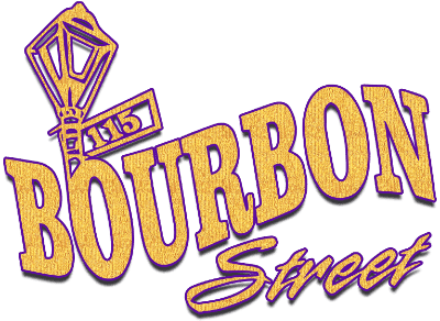 115 Bourbon Street gold and purple logo