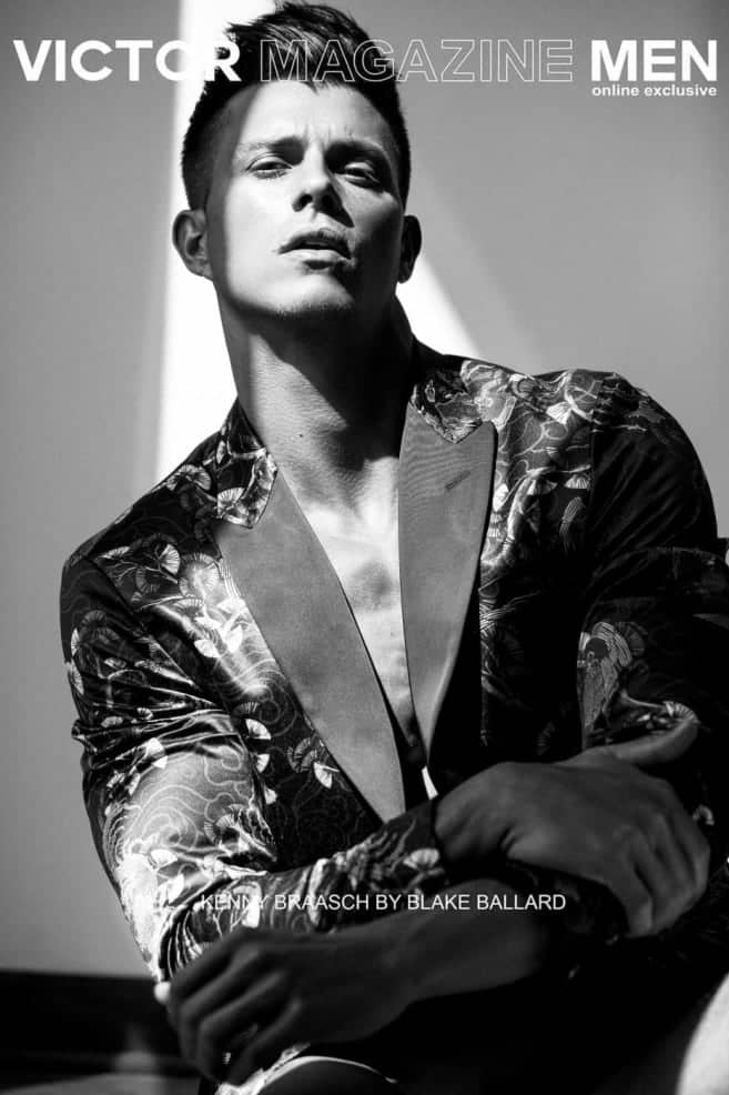 Kenny Braasch as the cover model of Victory Magazine Men's Online Exclusive issue wearing a printed jacket in black and white.  Photograghed by Blake Ballard.